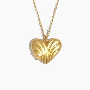 Madewell Carved Heart Locket Pendant Necklace